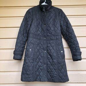 Talbots Quilted Coat Long Black 4 Winter
